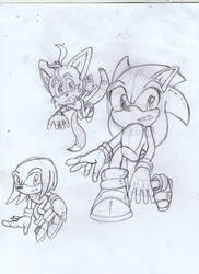 Sonic,Knuckles and Tails by Amazingartistred