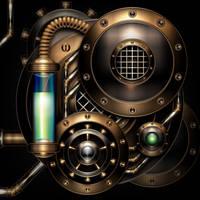 Steam engine in the dark by IllustratorG