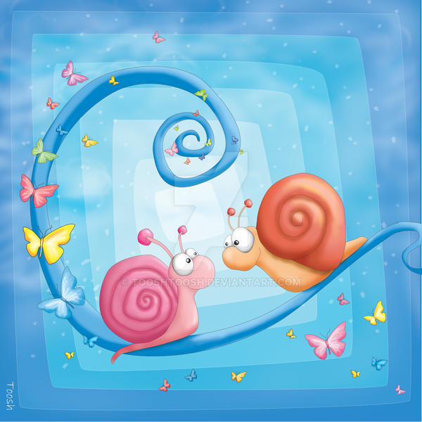 Kids room blue trilogy: Snails by Tooshtoosh