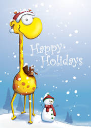 Happy Holidays Giraffe Card by Tooshtoosh