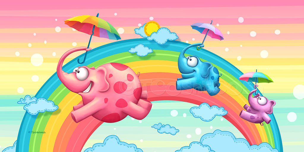 Rainbow elephants by Tooshtoosh