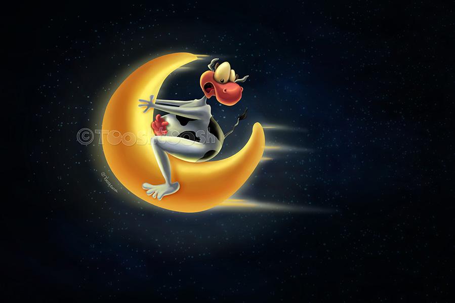 Crazy Moon Cow by Tooshtoosh