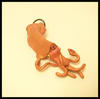 Orange Squid Pendant by KimsButterflyGarden