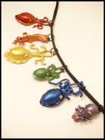 Rainbow Cephalopod Pendants by KimsButterflyGarden