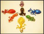 Rainbow Cepahlopod  Pendants by KimsButterflyGarden