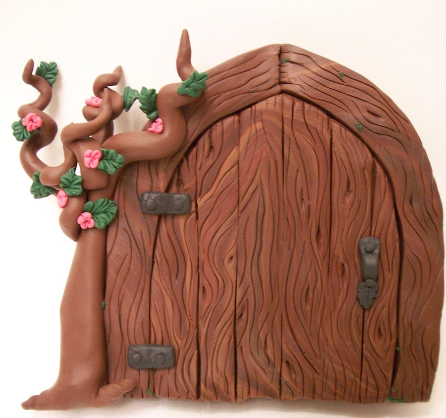 Pink rose tree fairy door by kimsbutterflygarden on deviantart for Wooden fairy doors