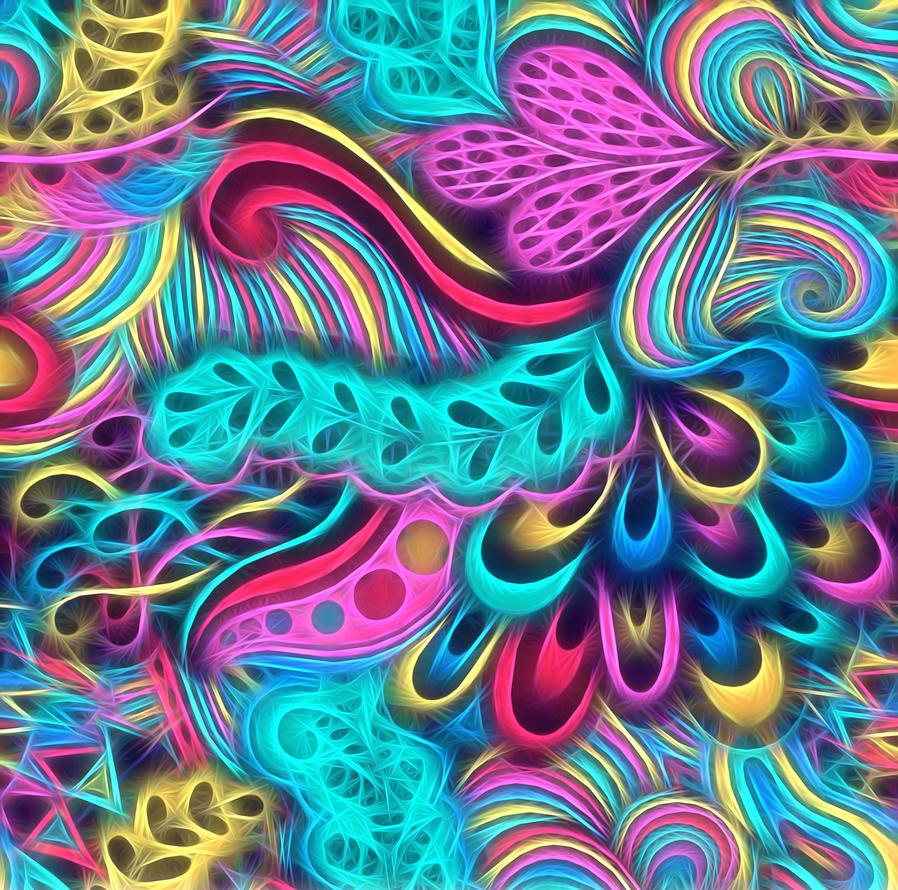 Swirling peacock fractal by KirstenStar