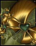 Malachite Stone Heart On Gold