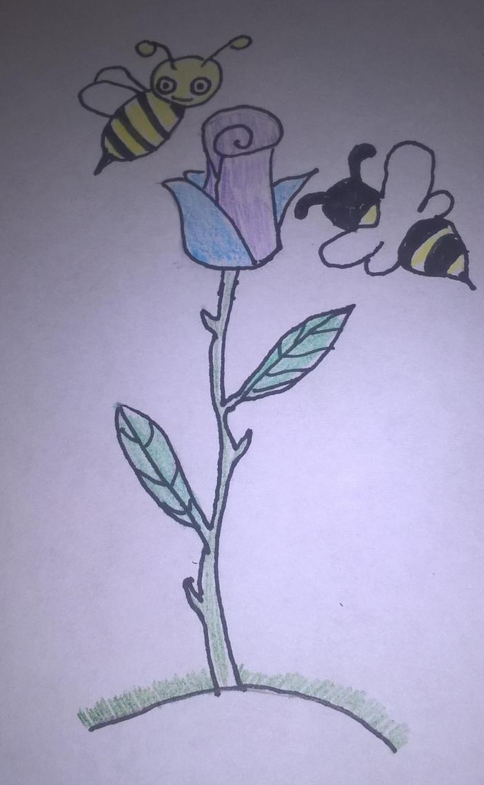 rose and bees by Akumu2200