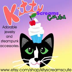 Kitty Screams Cute Large Ad