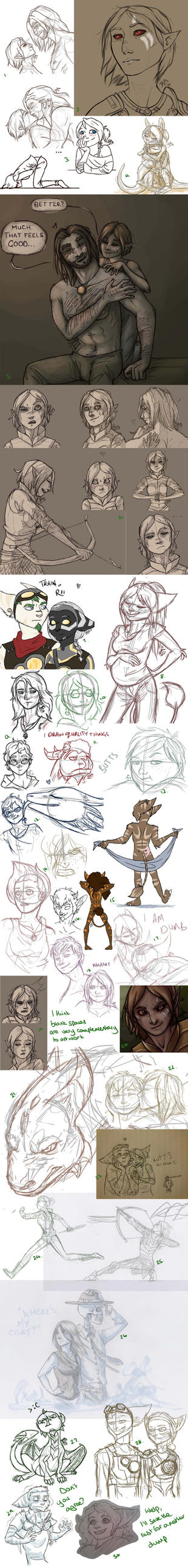 Longass Sketchdump of eVERYTHING by jessanight