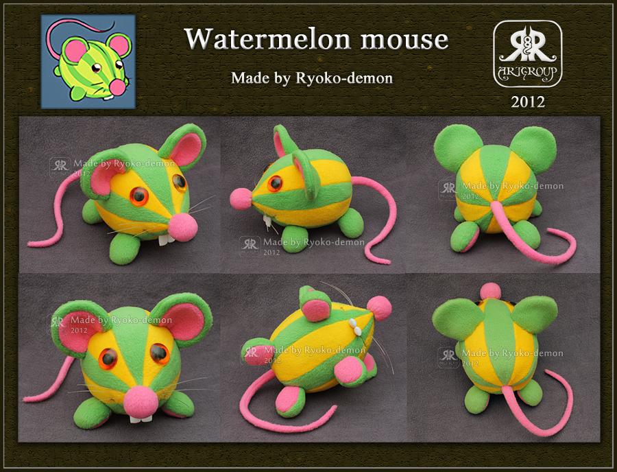 Watermelon mouse plushie by Ryoko-demon
