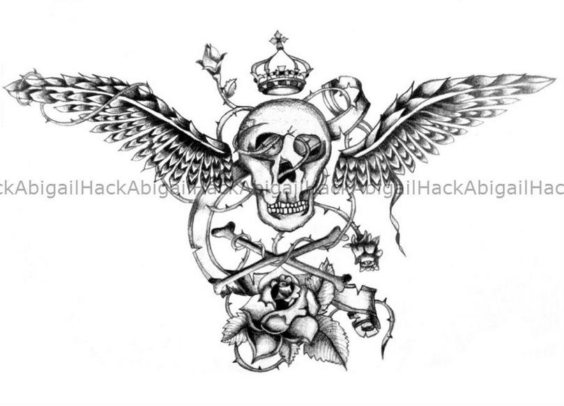 Skull Wings Rose Tattoo Design By AbigailThomas On