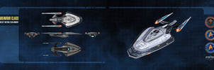 Endeavour Class Starship Dual-Monitor Wallpaper by thomasthecat