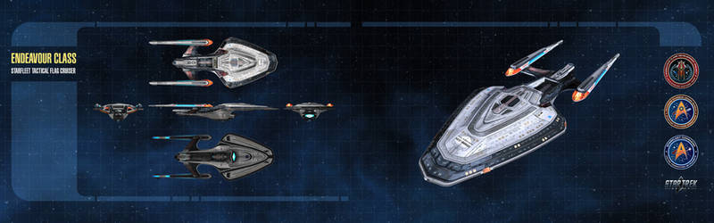 Endeavour Class Starship Dual-Monitor Wallpaper