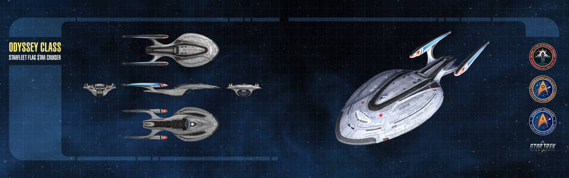 Odyssey Class Starship Dual-Monitor Wallpaper