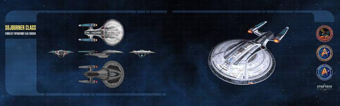 Sojourner Class Starship Dual-Monitor Wallpaper
