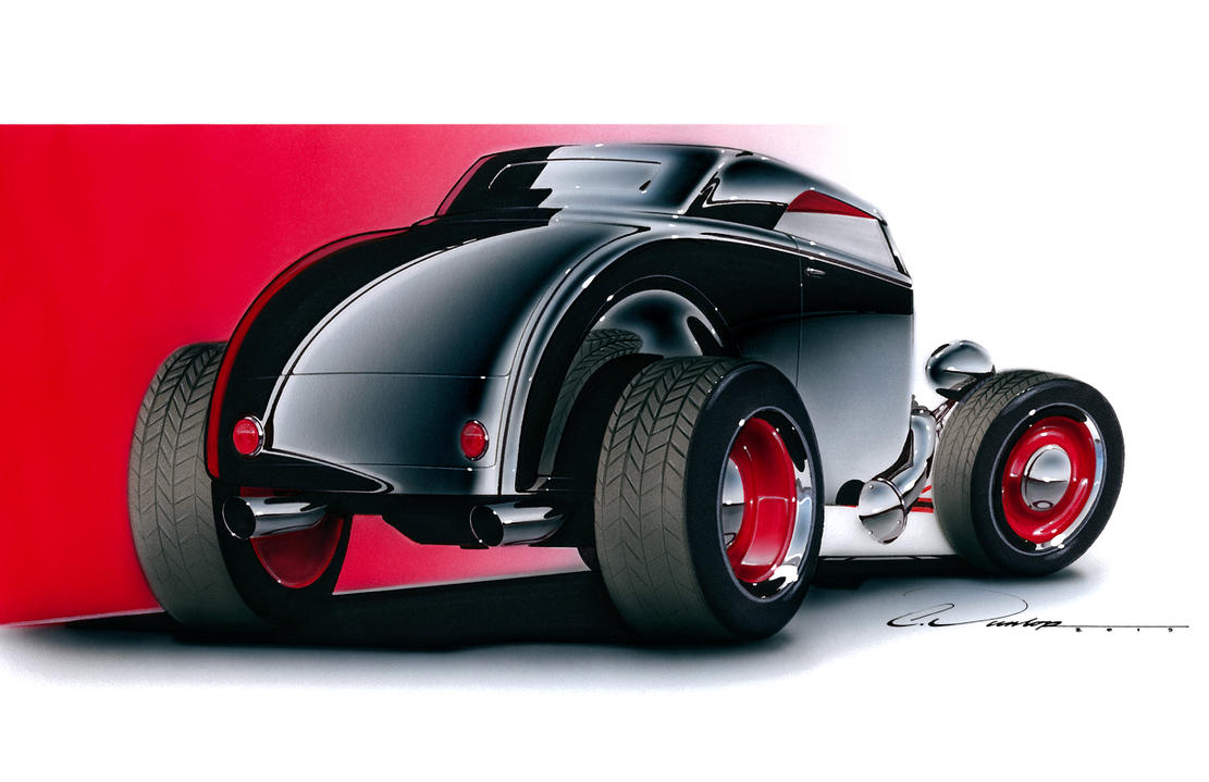 Hot Rod Rendering- Marker/Airbrush by PinstripeChris