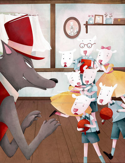 seven little lambs and one big wolf by cocinando-colores
