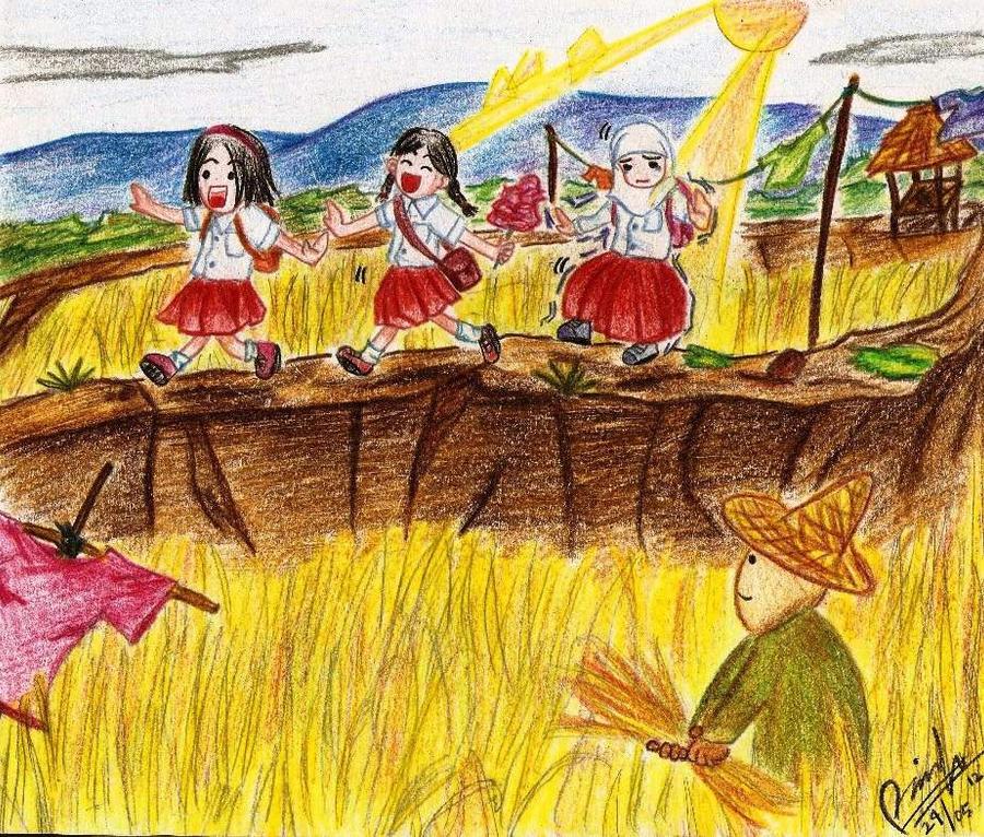 Suatu siang dipematang sawah/Day at the Rice Field by kueejahe
