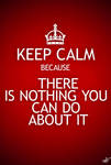KEEP CALM because THERE IS NOTHING YOU CAN DO