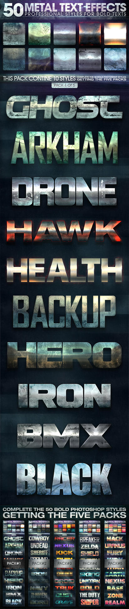 50 Metal Text Effects Pack 01 by Afiqi
