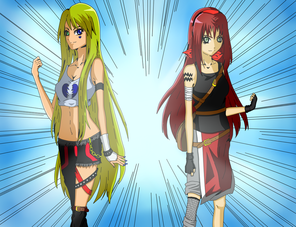 Collab ~ The Friendly Rivals ~Dixie x Kimiko~ by DragonLordFrankie
