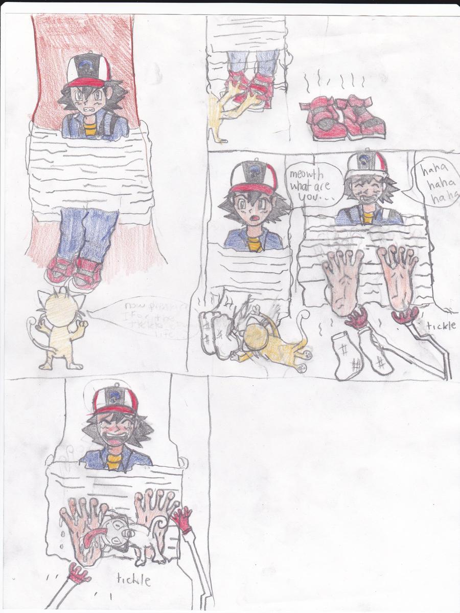 Ash Ketchum gets feet tickled by AnimeSneezefan123