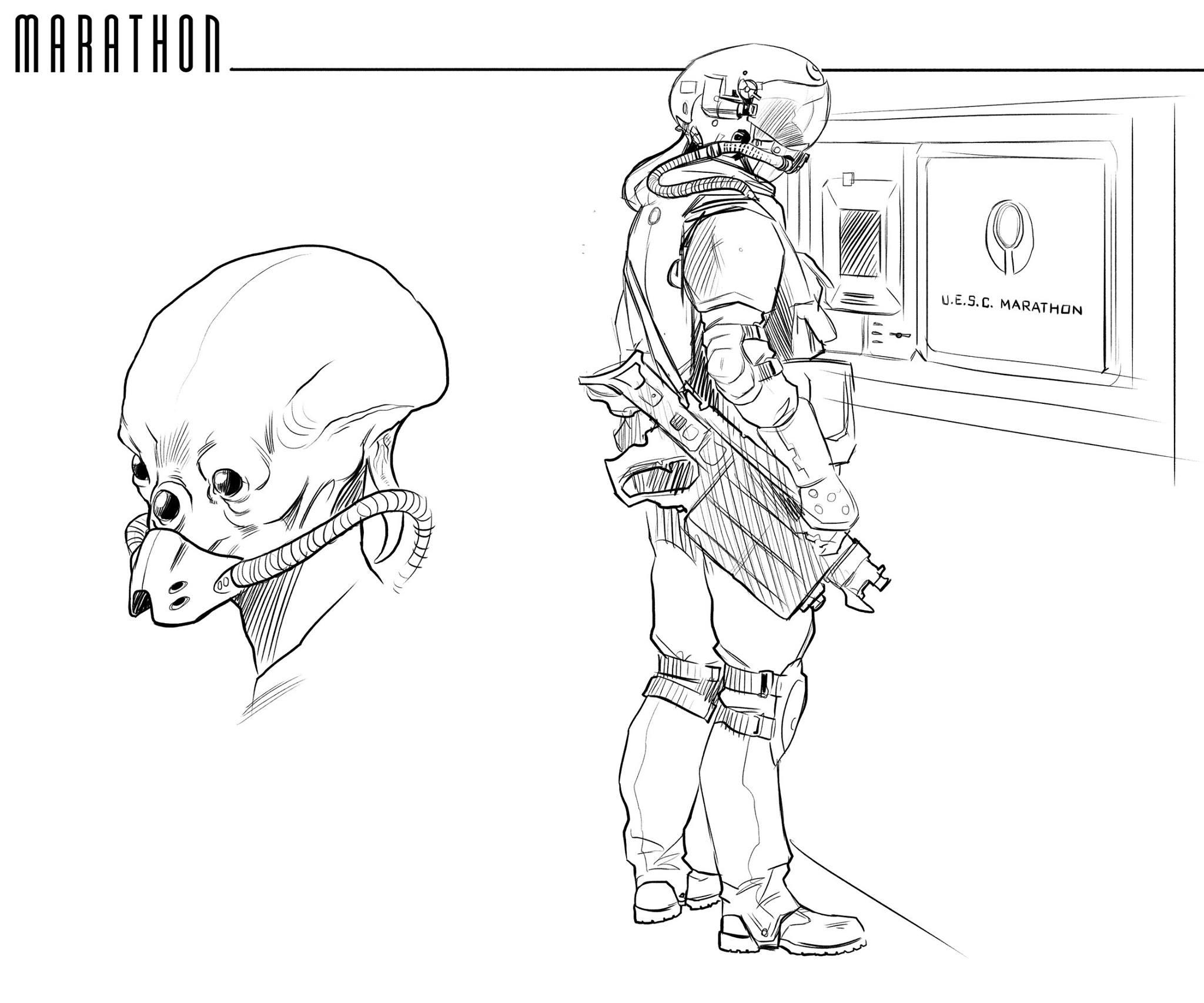 Marathon sketches by Deimos-Remus