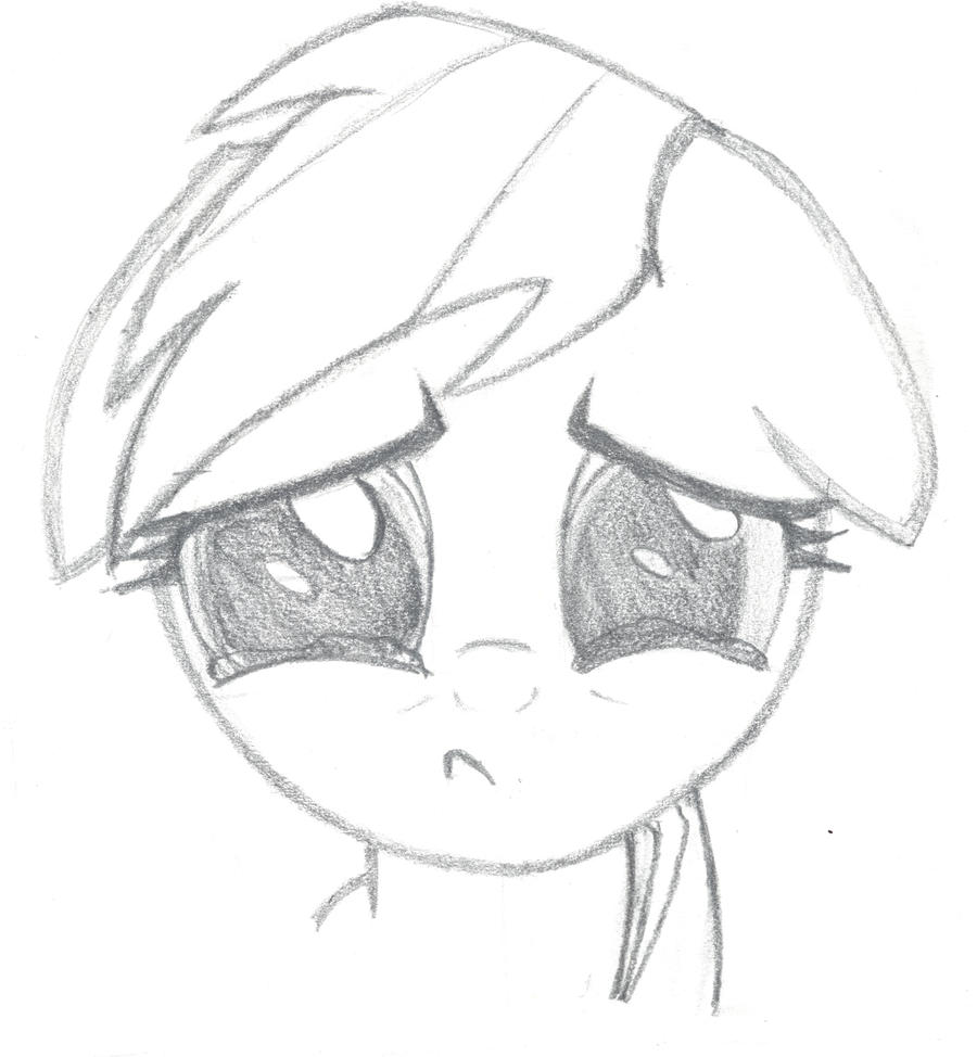 Sad Rainbow Dash Original Drawing by mauriici0 on DeviantArt