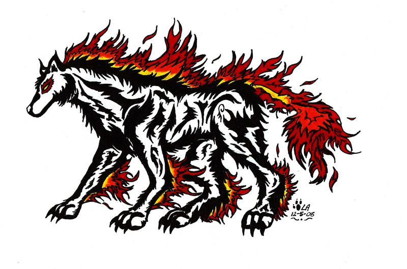 Tribal Fire Wolf Tattoo by LegendaryAirliners on deviantART