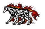 Tribal Fire Wolf Tattoo