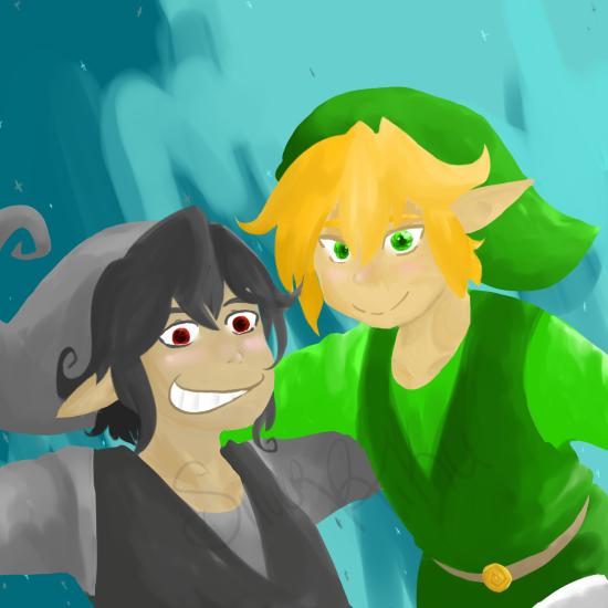 LoZ Shadow and Link by SilverRiku