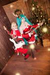 Miku Hatsune x Rin Kagamine Christmas Cosplay by Bizarre-Deer