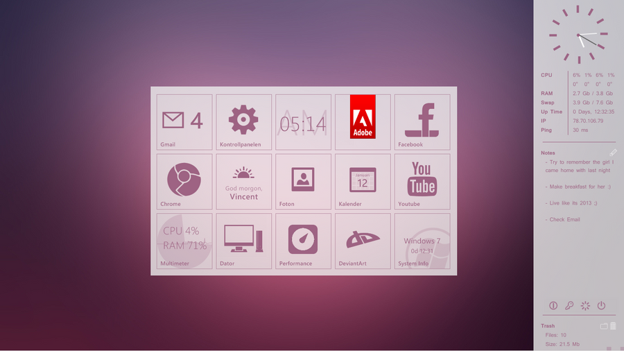 My desktop 2013-01-09 :: SimplyPurple by wineass