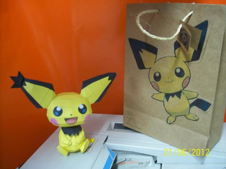 pichu papercraft con bolsita de regalo by rafex17