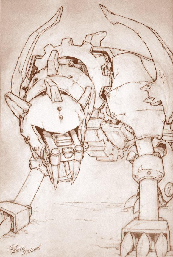 Ancient Gear Beast in Pencil by jacemoore