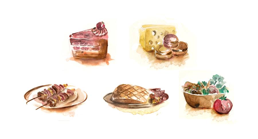 Watercolor- Mahakam FOOD bunch by kun-bertopeng