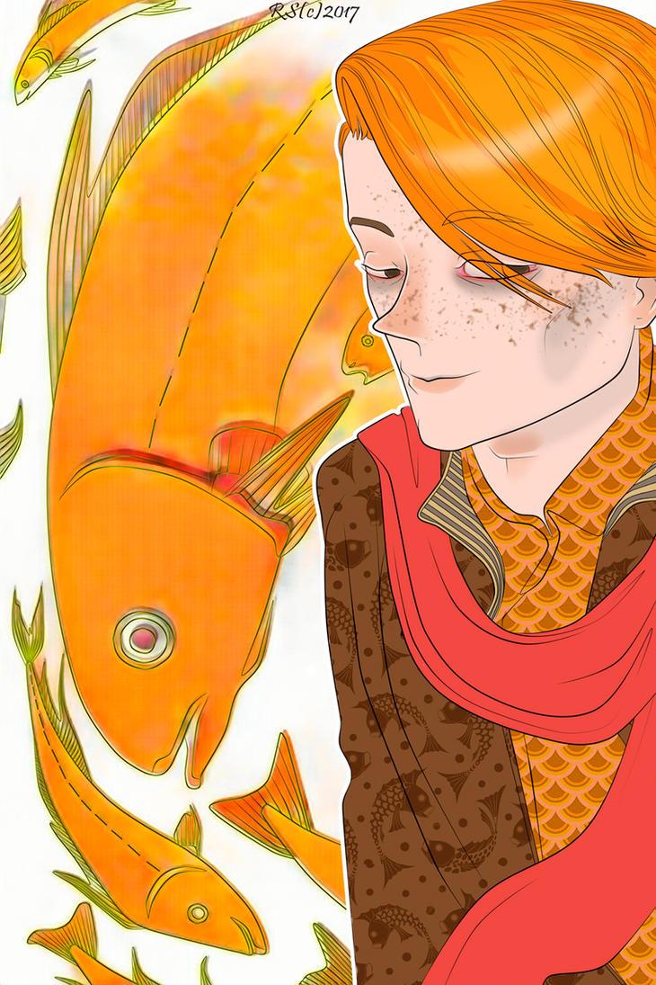 orange fish by HeloiseTheSiamese