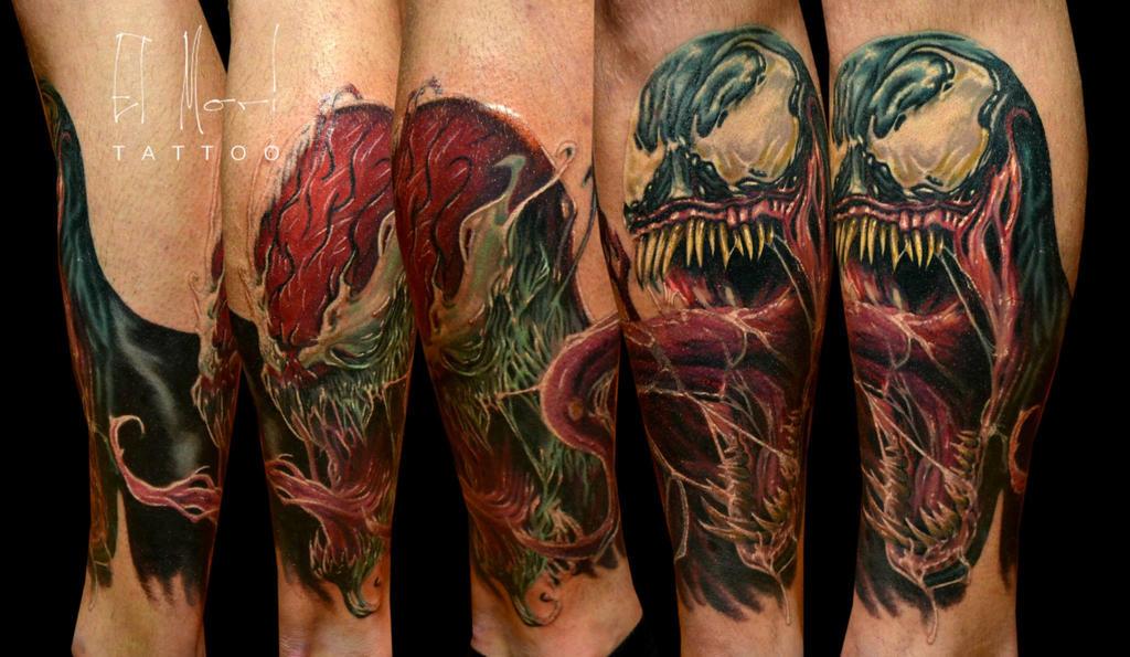Venom Carnage Tattoo: Venom Carnage Half Leg By El-mori On DeviantArt