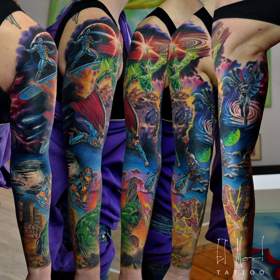 superhero sleeve by el-mori on DeviantArt Batman Tattoo Chest