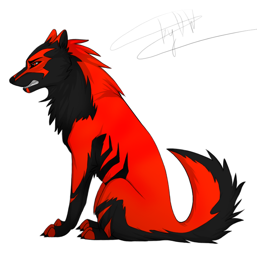 Black - red wolf by DesperateWolfy on DeviantArt