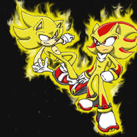 Super Sonic and Shadow by UnknownSpy