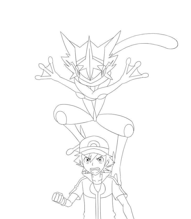 Greninja Pokemon Ash Coloring Pages Sketch Coloring Page