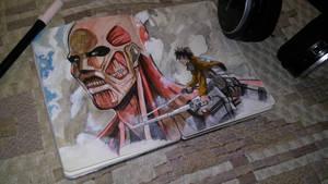 Eren and Colossal Titan (Shingeki no Kyojin) by Kaya888