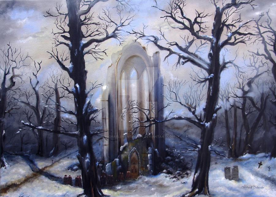 Church In Snowy Woods By Michaelorlandoart On Deviantart