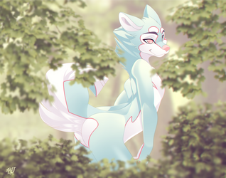 forest-dog-peek by phation