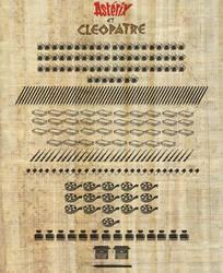 Infographie Asterix et Cleopatre sur papyrus