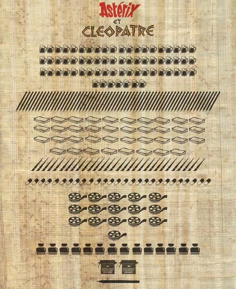 Infographie Asterix et Cleopatre sur papyrus by DiggerEl7