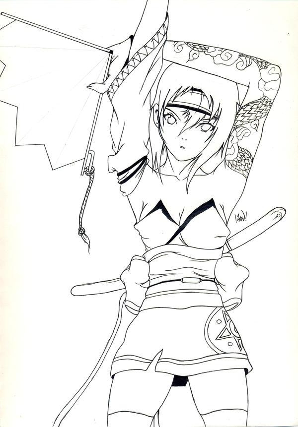 Line Art Ninja : Ninja chic line art by zone on deviantart